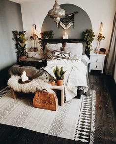 Slightly bohemian and tribal influenced bedroom