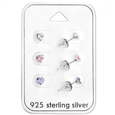Baby and Children's Earrings:  Sterling Silver 3 x Heart Earrings Gift Pack.  Great value gift packs of kids' earrings from Baby Jewels.