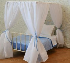 "American Girl Canopy White Sheer For 18"" Canopy Doll Bed"