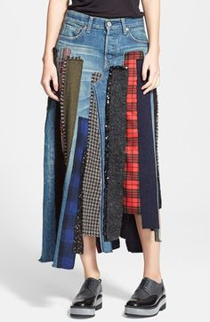 Junya Watanabe Patchwork Denim Skirt available at #Nordstrom