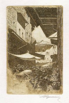 Telemaco Signorini acquaforte, via di Calimala, 1874
