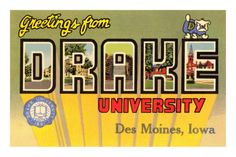 Greetings from Drake University, des Moines, Iowa Premium Poster