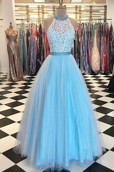 Cute blue lace top tulle prom dress, ball gown, prom dresses for teens