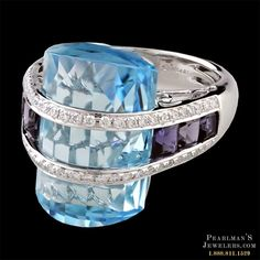 Bellarri Blue topaz and lolite ring from Pearlman's Jewelers