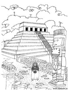 See More Free Coloring Page Adult Temple Aztec Of An