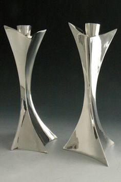 Michael and Maureen Banner silver candleholders - made in Monterey, MA