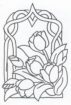 70 ideas embroidery flowers pattern coloring pages Stained Glass Quilt, Stained Glass Flowers, Faux Stained Glass, Stained Glass Designs, Stained Glass Projects, Stained Glass Patterns, Mosaic Patterns, Embroidery Flowers Pattern, Flower Patterns