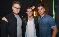 Seth Rogen, Dave Franco and Zac Efron photographed backstage at the 2014 MTV Movie Awards in Los Angeles. | MTV Photo Gallery
