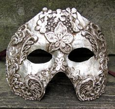 silver Venetian masquerade mask for man or woman by ladyinthetower, $74.00
