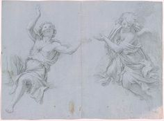 Giacomo Zoboli | Two Angels. Verso: Young Man or Woman with Head and Eyes Turned Upward | Drawings Online | The Morgan Library & Museum