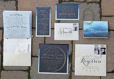 Botanical New York Wedding   (I wonder if those are parents/grandparents wedding photo stamps. What a creative, beautiful idea!)