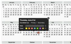 Full Year Calendar & Countdown App With Instant Navigation For Chromebook
