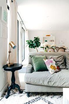 gray couch + fun pillows!
