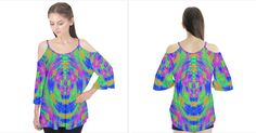Boho Hippie Neon Rainbow Flutter Tees Flutter Sleeve Tee   CowCow