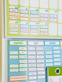 Cool idea for meal planning. Plan out your family\s weekly menu in advance and get all your groceries in one swift shopping trip. Magnetic labels make meals simple -- just mix and match dishes on the calendar and keep inventory on an organized board. Print these labels on magnet paper