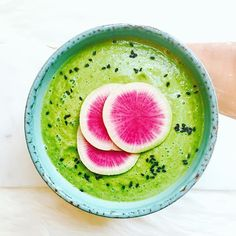 Raw Miso Zucchini And Kale Soup. Get this and 50+ more Vegan recipes at https://feedfeed.info/our-favorite-vegan-recipes