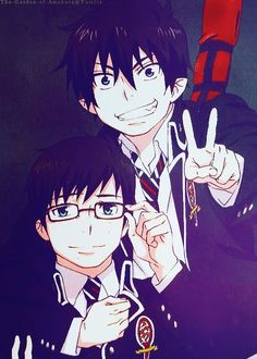 Rin and Yukio from Blue Exorcist Rin ya cutie. Also can't ignore the act that Yuki's english voice actor is the same as Ichigo's. O////O -oohh-