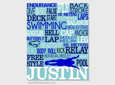 Swimming Typography Art Print, Perfect for Girl or Boy's Room Art, You Choose the Colors, Makes a Great Gift for any Swimmer - Click the link to see the newly released collections for amazing beach bikinis! Swim Team Gifts, Swimming Posters, Gifts For Swimmers, Keep Swimming, Swimming Funny, Swimming Memes, Swimming Gear, Swim Mom, Senior Gifts