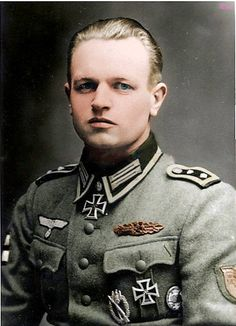 Johann Schwerdfeger recipient of the Knight's Cross of the Iron Cross with Oak Leaves. He is wearing the Kuban Shield on his shoulder. May 1944