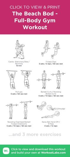 The Beach Bod - Full-Body Gym Workout – click to view and print this illustrated exercise plan created with #WorkoutLabsFit Chest Workouts, Fun Workouts, Workout Exercises, Body Workouts, One Arm Dumbbell Row, Full Body Gym Workout, Free Workout, Reps And Sets, Printable Workouts