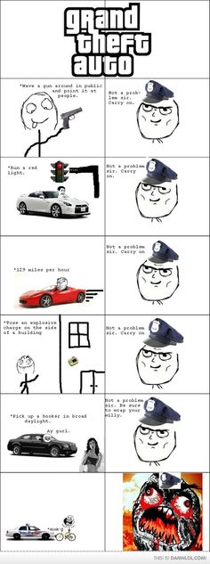 I personally don't care for games like GTA, but this meme is too good to pass up. Video Game Logic, Video Games Funny, Funny Games, Funny Videos, Gamer Humor, Gaming Memes, Rage Comics, Funny Comics, Gta 5