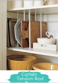 Kitchen organization with tension rods between shelves. (convenient!)