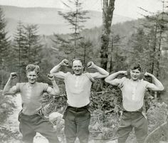 Lumberjacks who joined the Canadian Forestry Corps in World War Two and logged the forests of Scotland brought with them the most up-to-date logging equipment available, including caterpillar tractors, lorries, and winches for high-lead logging. However, they engaged in hard physical labour and the Scottish climate was cold and damp. These three unnamed men show off their hard-earned muscles! Photo Credit: Canadian War Museum. For more: www.elinorflorence.com/blog/canadian-forestry-corps.