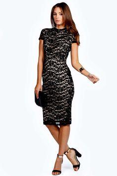 Rosie High Neck Lace Bodycon Midi Dress alternative image Long Sleeve Midi  Dress f0fc296b4