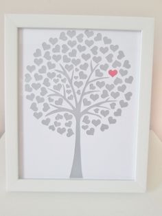 Gorgeous handcut framed papercut, a tree made of hearts   Moor Style Creations MISI Handmade Shop