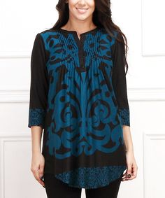 Look at this Teal & Black Damask Notch Neck Tunic - Plus on #zulily today!