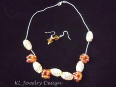 Swirls of Brown Beaded Bead Necklace and Earring Set by KL Jewelry Design $25.00