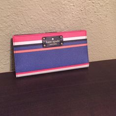NWT Kate spade Stacy wallet NWT Kate spade Stacy wallet in a colorful print from their recent beach themed collection. Has 12 card slots not including a place for your ID. Four full size slots to put cash in and a zipper along the back for change. No trades and please use offer button. kate spade Bags Wallets