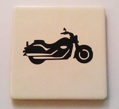 Motorbike vinyl tile coaster. Tile Coasters, Motorbikes, Christmas Gifts, Handmade Gifts, Creative, Cards, Xmas Gifts, Kid Craft Gifts, Christmas Presents