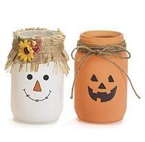 Autumn Jack o Lantern and Scarecrow Themed Tea Light Candle Jars, 7 Inches Halloween Mason Jars, Fall Mason Jars, Pint Mason Jars, Mason Jar Diy, Mason Jar Lanterns, Candle Jars, Crafts With Glass Jars, Mason Jar Crafts, Decorating With Mason Jars