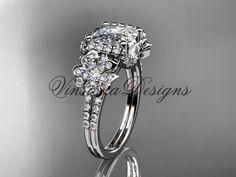 Platinum diamond Cherry Blossom flower, Sakura engagement ring with cushion cut Moissanite VD8148