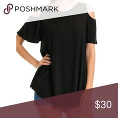 Spotted while shopping on Poshmark: 🆕🆕NWT Comfy Cold Shoulder Top in Black! #poshmark #fashion #shopping #style #Paperback Boutique #Tops