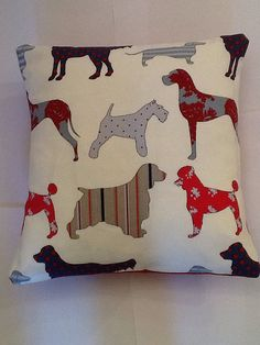 Scatter cushion in gorgeous dog print fabric by TheMontyDogShop www.etsy.co.uk/shop/TheMontyDogShop