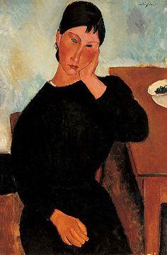 Elvira apoyada en la mesa (Elvira appoggiata al tavolo). AMEDEO MODIGLIANI. Livorno (1884-1920). 1919. Óleo sobre lienzo. 92,7 × 60,5 cm. -Saint Louis Art Museum, Missouri, Estados Unidos.