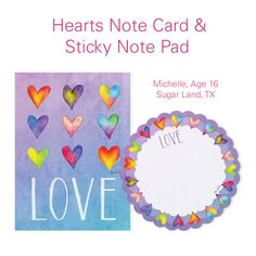 """Have you seen our sweet """"Hearts"""" design products yet? Check out these note cards and sticky notes! They're perfect for Valentine's Day, or whenever you'd like to leave a note for someone special. Items 122916 ($8) and  525516 ($7). The Children's Art Project offers merchandise inspired by the artwork of Children's Cancer Hospital patients at The University of Texas MD Anderson Cancer Center. Net proceeds support patient programs for children with cancer."""