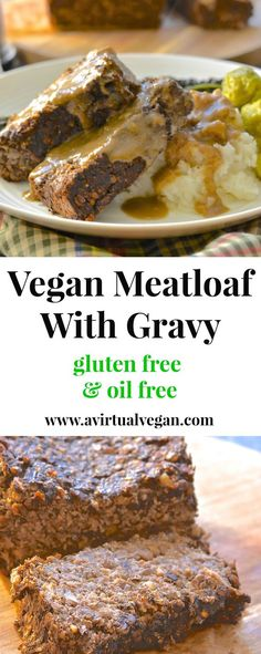 Vegan Meatloaf with Gravy This vegan meatloaf is incredibly easy to make & is sure to please with it's deep & savoury flavour. Serve sliced & smothered in rich, thick gravy for a truly satisfying meal! Vegan Dinner Recipes, Whole Food Recipes, Vegetarian Recipes, Cooking Recipes, Healthy Recipes, Vegan Menu, Raw Vegan, Meatloaf With Gravy, Vegan Meatloaf