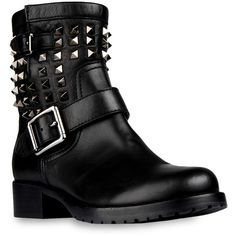 Valentino Boot ($1,495) ❤ liked on Polyvore featuring shoes, boots, botas, sapatos, black, studded boots, black boots, studded biker boots, valentino shoes and moto boots