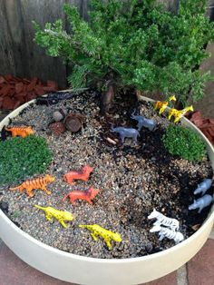 """Small world animals & a Bonsai - at Puzzles Family Day Care ("""",) i wonder if I could make this a portable activity for park days. Outdoor Play Spaces, Kids Outdoor Play, Kids Play Area, Backyard For Kids, Outdoor Fun, Natural Playground, Outdoor Playground, Playground Ideas, Reggio Emilia"""