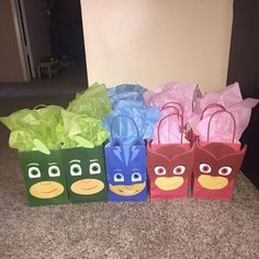 PJ Masks Party ideas/ PJ masks Party Favor bags/ PJ Masks birthday party decorations/ PJ Masks goodie bags/ PJ masks favor bags/ PJ masks party treat/ loot/ candy/ gift/ goody bags/ PJ Masks birthday cake/ piñata