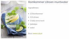 Komkommer citroen muntwater
