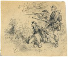 Three soldiers in action. Drawing by Alfred R. Waud; no date given; drawing on cream paper : pencil ; 10.2 x 12.2 cm. (sheet)