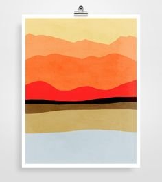Mid century modern abstract landscape art print in warm color palette. Bold red, orange and yellows are balanced with a touch of cool gray. Get this
