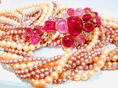 Goossens for Chanel Multi-strand Pearl & Pâte de verre Camellia Necklace 1970s / 4900