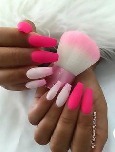 nails, beauty, and pink image Nails Yellow, Bright Nails, Pink Nails, Sexy Nails, Dope Nails, Fancy Nails, Fabulous Nails, Gorgeous Nails, Pretty Nails