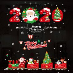 Merry Christmas Wall Stickers Window Glass Festival Decals Santa Murals New Year UK Wall Stickers Window, Wall Stickers Murals, Window Wall, Window Glass, Decals, Wall Decal, Christmas Cover, Christmas Diy, Reindeer Decorations