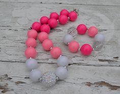 Color Block Girls Chunky Necklace Bracelet Set- Birthday Chunky Necklace- Girls Bubble Gum Necklace- Pink White Light Pink Chunky Necklace